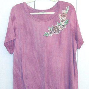 Loralette Rustic Pink Floral Tee Shirt 1X 2X